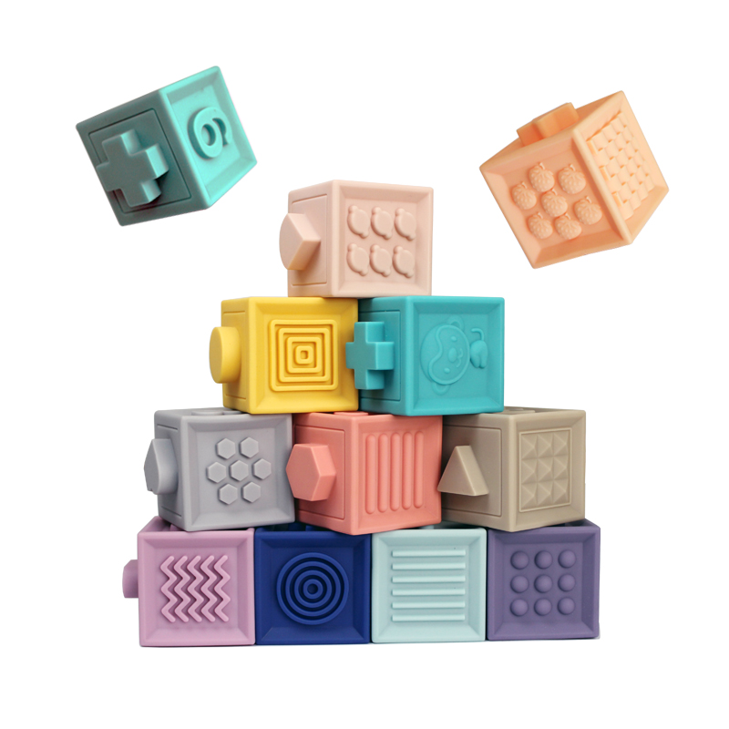 Baby Grasp Toy Silicone Building Blocks 3D Touch Hand Soft Balls Baby Massage Rubber Teethers Squeeze Toy Bath Ball Toys