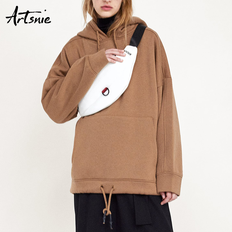Artsnie Autumn 2018 Caramel Knitted Loose Pullovers Women Winter Hooded Long Sleeve Casual Girls Sweatshirts Femme Hoodies Mujer