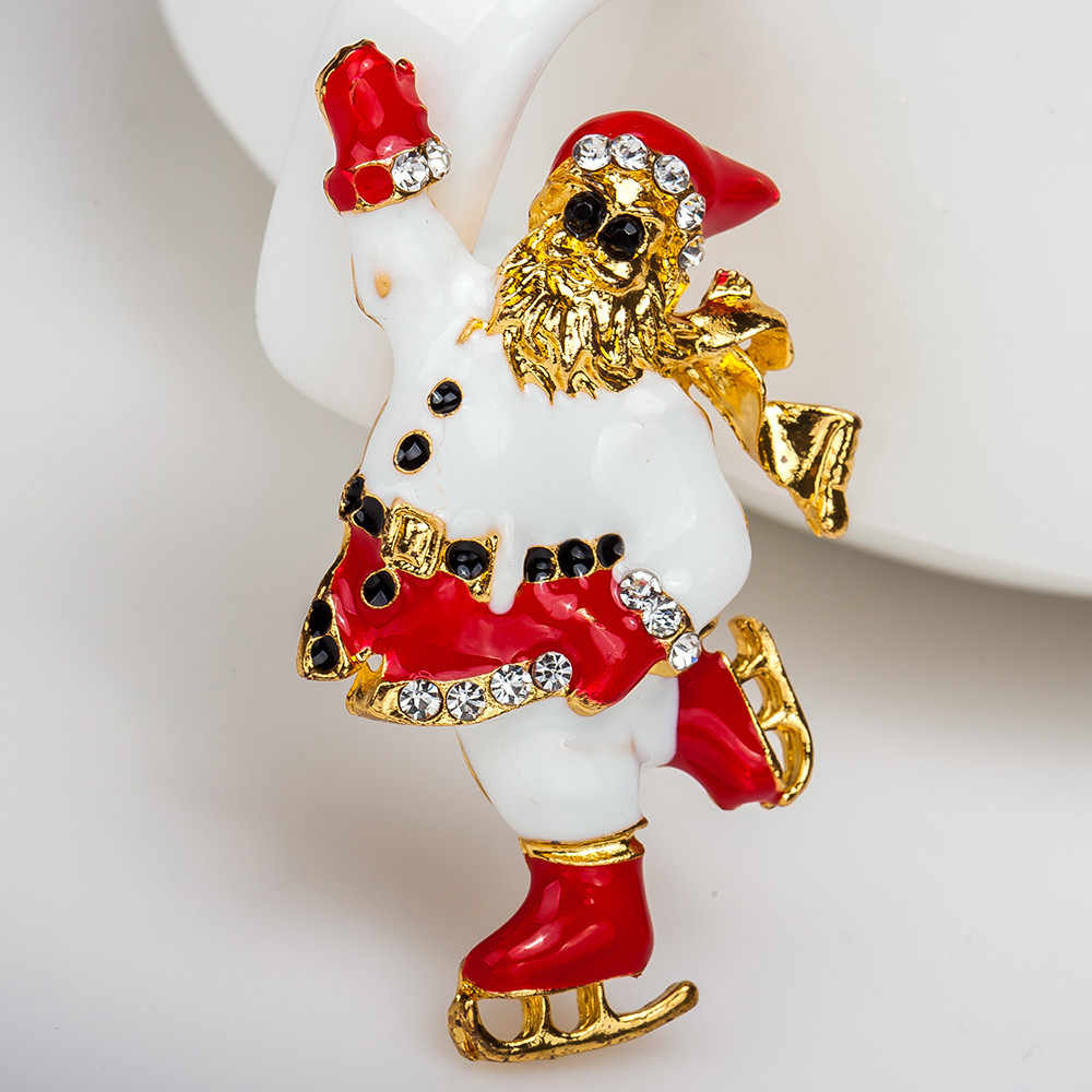 Xmas Party Charm Gold Brooches Rhinestone Crystal Shine Santa Claus Brooch Pin Jewelry Badges Hat Backpack Cloth Accessories