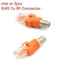 Adaptador conector tipo f fêmea rf para rj45, adaptador de acoplador de cano coaxial macho, uma ou 2 peças conector rj45 para rf