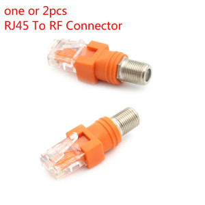 One Or 2pcs F-Type Connector RF Female To RJ45 Male Coaxial Barrel Coupler Adapter Coax Adapter, RJ45 To RF Connector(China)
