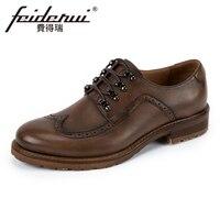 Vintage Genuine Leather Men S Handmade Oxfords Round Toe Lace Up Man Footwear Formal Dress Wingtip