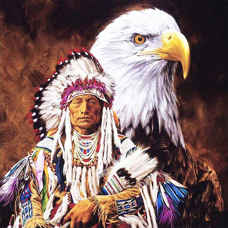 Diy Diamond Painting Indian With Eagle Cross Stitch Diamond Embroidery Home Decoration Needlework Diamond Mosaic Painting
