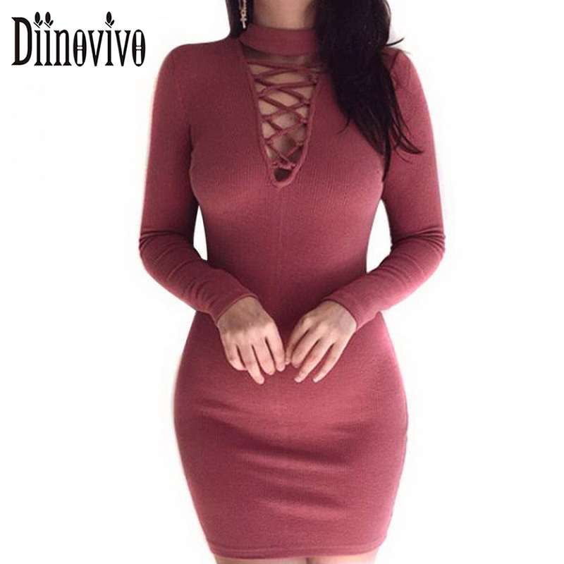 Woman Lace Up Knitted Dress With Choker Sexy Back Zipper Bandage Dresses 2018 New Spring Casual Party Club Bodycon Jurk SWS058 choker neck ruffle bodycon dress short club dresses