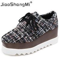 Brand Lattice Cloth Flat Platform Autumn Shoe Woman Round Toe Lace Up Platform Oxford Shoes For