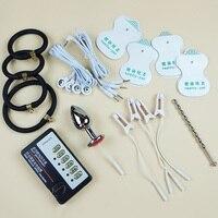 Electric Shock Anal Plug Urethral Plug Cock Ring Electro priapus Enlargement Clitoris Nipple Clamp DIY Toy