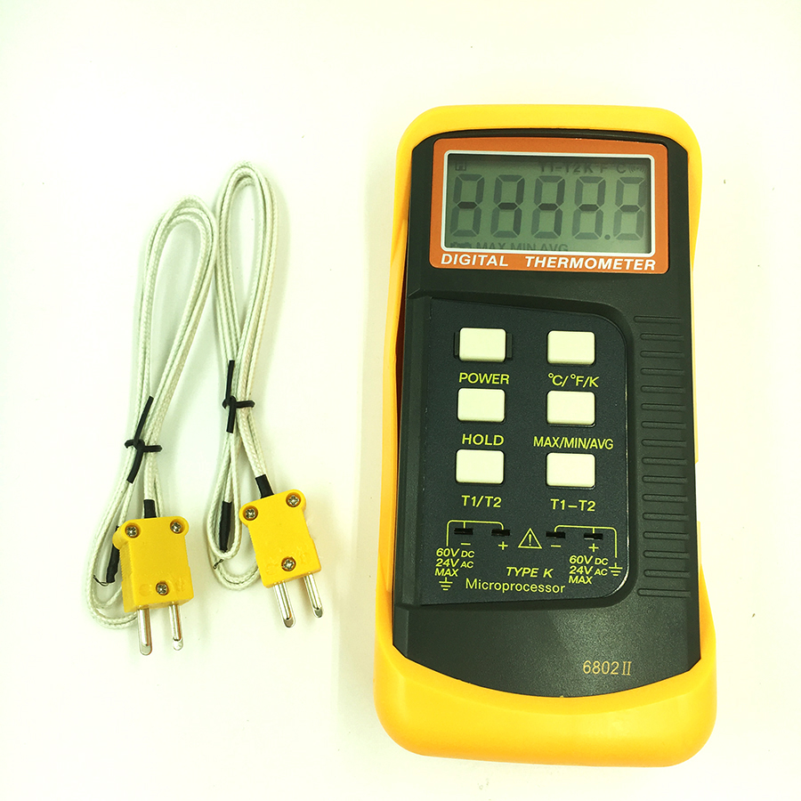 6802II K type digital thermometer thermocouple thermometer K-Type Temperature Meter dual channel цена