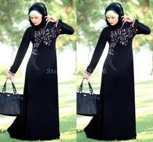 Abendkleider Crystal 2016 High Quality Islamic Clothing Women Moroccan Kaftan Dress Black Dubai Abaya Mother Of The Bride Dress