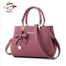 Luxury New Women PU Leather Bag Fashion Brand Designer Bow Star Pendant Handbag Fashion Solid Shoulder Bag Casual Messenger Tote