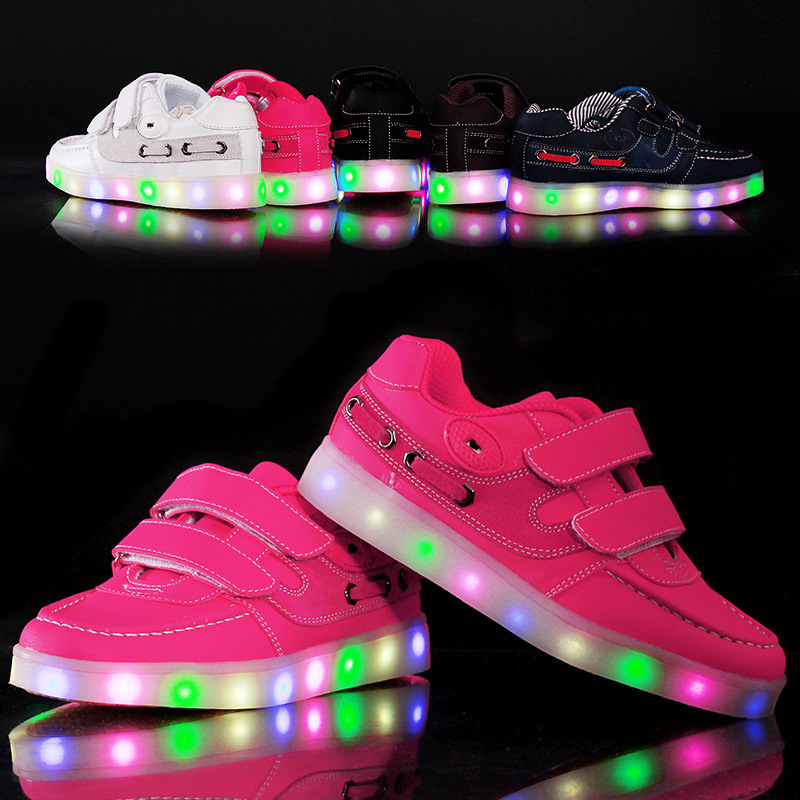 2017 New Luminous Sneakers Children Led Flash Light Shoes Fashion Kids Casual Solid Sports For Boys And S In From Mother