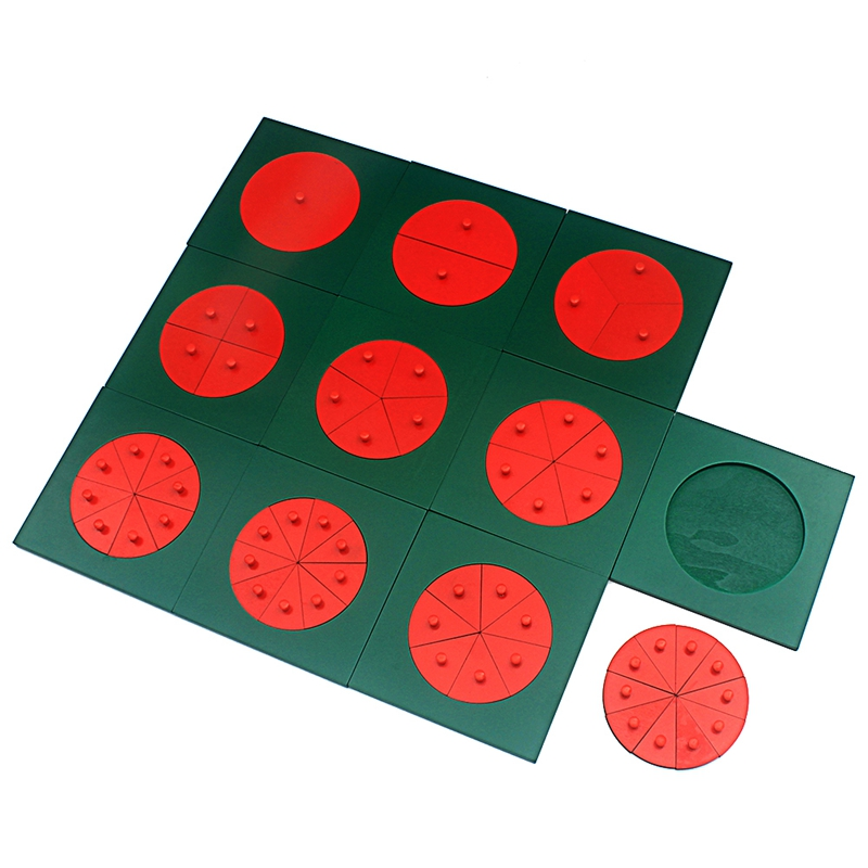 Baby Montessori Math Toys Wooden Fraction Circles 1-10 Counting Fractions Educational Wood Toys Circular Division Grasping Board