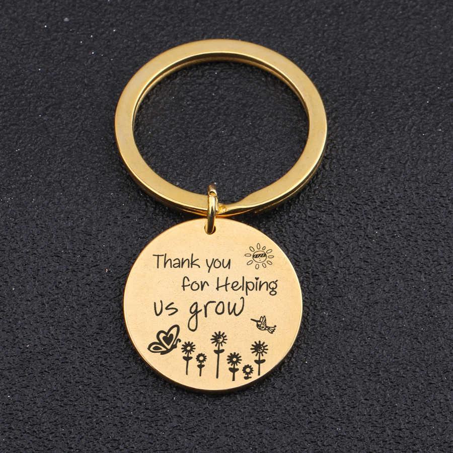 Khắc Thời Trang Keychain Cảm Ơn Bạn Đã Giúp Chúng Ta Phát Triển Hoa Nắng Bướm Túi Quyến Rũ Mặt Dây Chuyền Cho Cha Mẹ Giáo Viên Quà Tặng