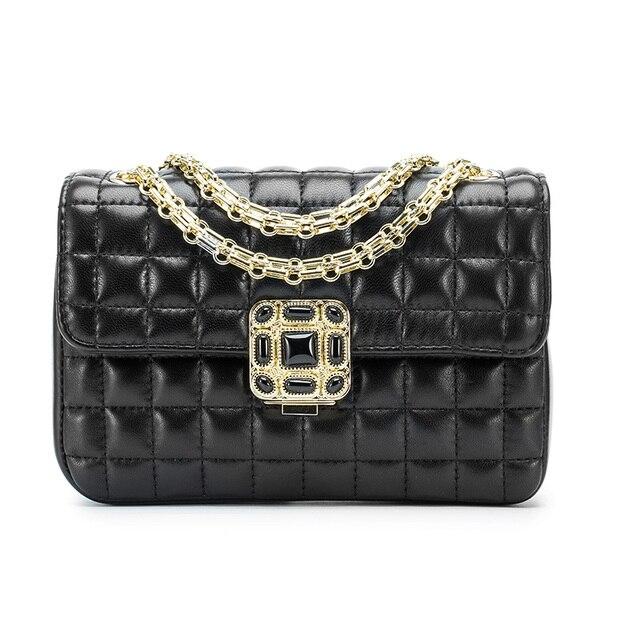 Paste Luxury Black Bright Shining Stones Design Genuine Leather