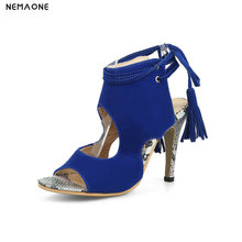NEMAONE New lace up tassel women sandals thin high heels shoes woman summer style ladies shoes