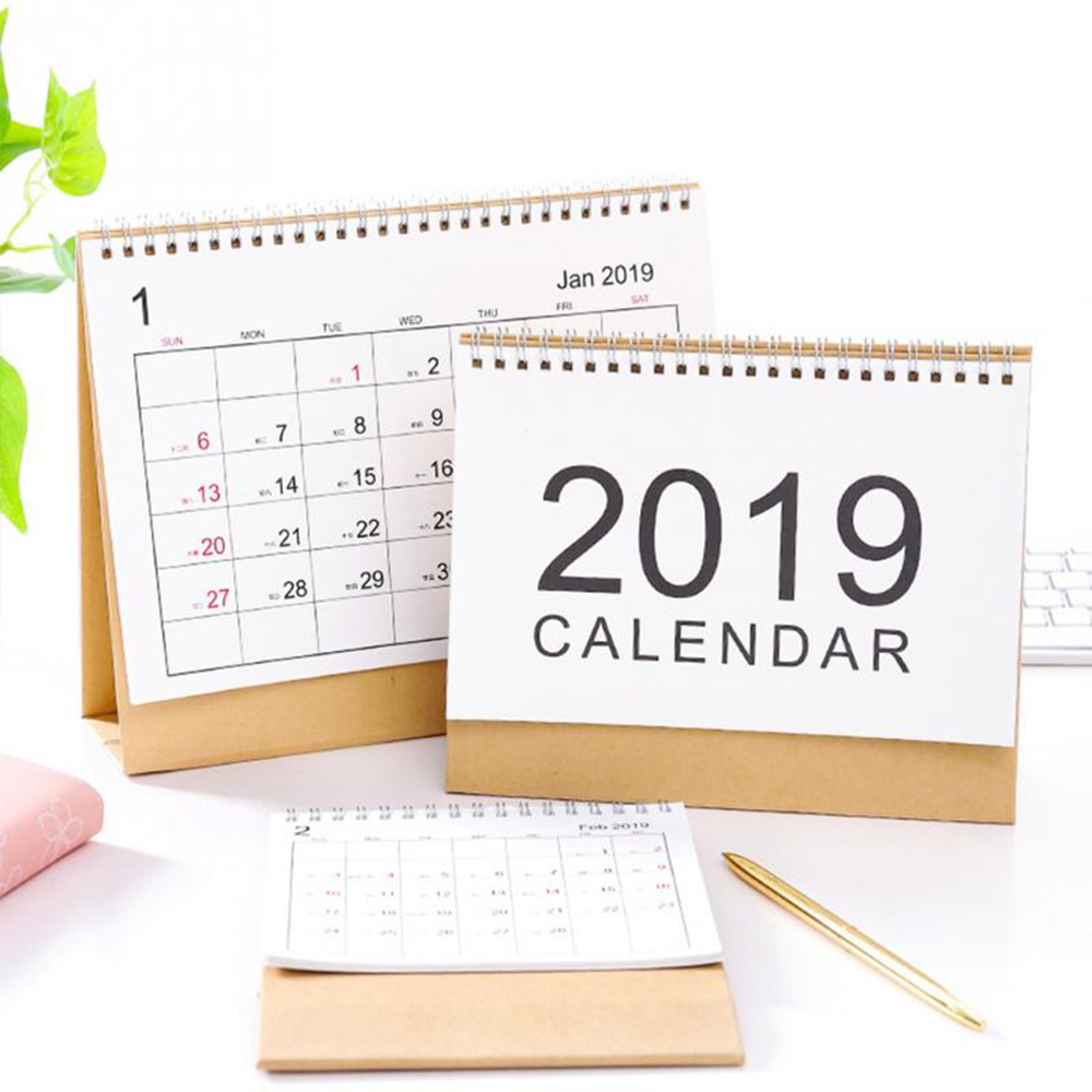 Office & School Supplies Reliable New Year Calendar 2019 Fashion Simple Lovely Mini Table Calendars Vintage Kraft Paper Desk Calendar Office School Supply