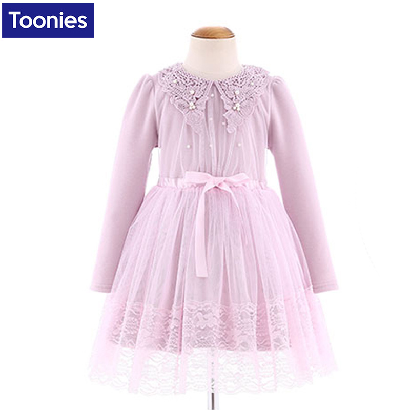 2017 Spring Winter Baby Pearl Girls Lace Wedding Evening Party Tutu Dresses Children Princess Prom Dress Kids Girl Clothes girls dress 2017 new summer flower kids party dresses for wedding children s princess girl evening prom toddler beading clothes