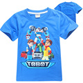 2017 Summer Boys T-shirt Tobot Pure Cotton Fabric and Blue New Cartoon Print Car Man Clothes Children Girls Clothes TOBOT