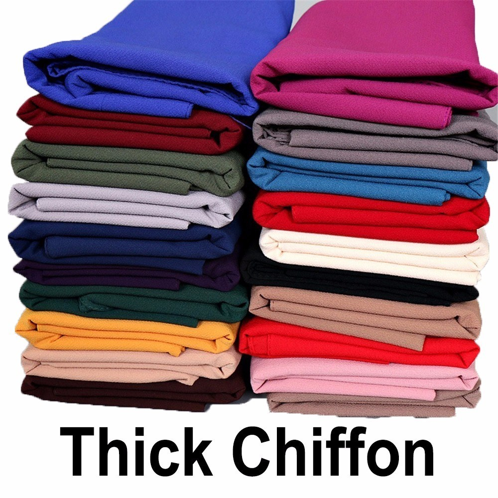 Muslim Hijab Bubble Thick Chiffon Hijab Shawls Hijab   Wrap   Muslim Heavy Bubble Chiffon Plain 20 Colors   Scarves  /  Scarf   180*75cm