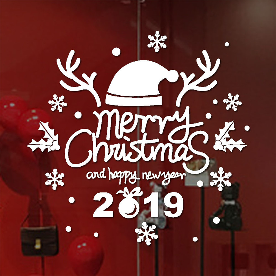 Merry Christmas Images 2019.Us 1 37 36 Off New Xmas Stickers For Window 1pc Merry Christmas 2019 Sticker Home Shop Windows Decor Decals Christmas Decor 30 In Wall Stickers From