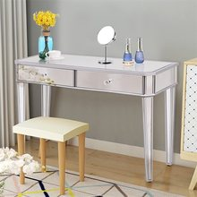 2 Drawers Mirrored Vanity Make-Up Desk Console Durable Solid MDF Frame Around Mirror Design Functional and Decorative HW55168(China)