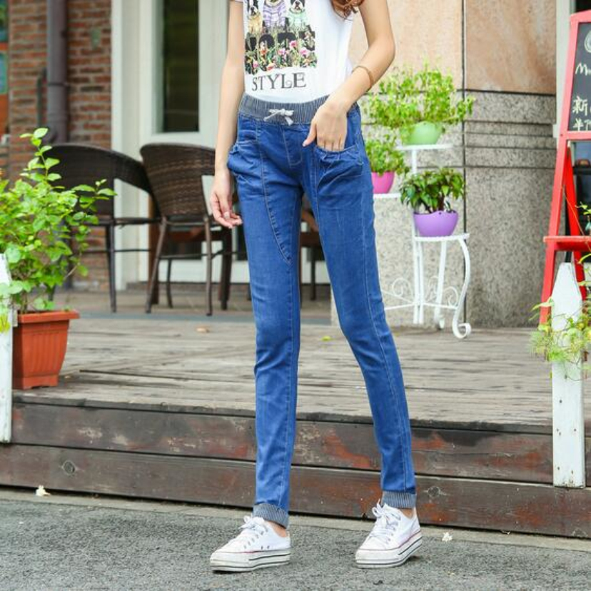 Aliexpress hot style Sexy Haroun pants female waist with elastic thin big yards in European women