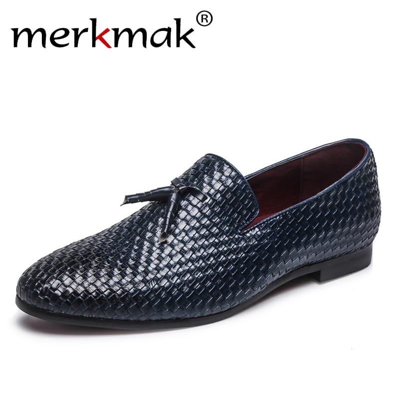 где купить Merkmak Brand Men Shoes 2018 New Breathable Comfortable Men Loafers Luxury Tassel Weave Men's Flats Men Casual Shoes Big Size 48 по лучшей цене