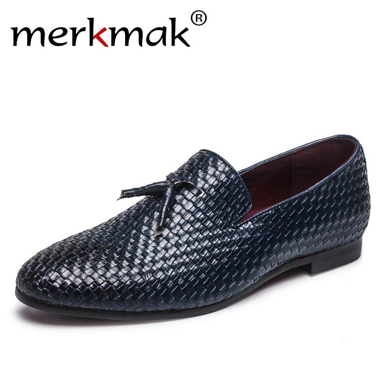 Merkmak Sapatas Dos Homens Da Marca 2018 Novos Homens Respiráveis Confortáveis Mocassins Borla Tecer Flats Homens Calçados Casuais dos homens Tamanho Grande 48