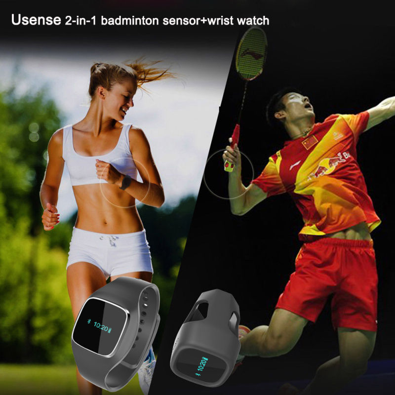 Free shipping!Usense 2-In-1 Smart Badminton Sensor Wrist Watch Training Swing Sk