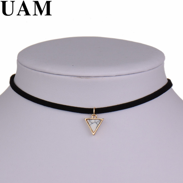 New Brand Punk Necklace Women Short Black Velvet Choker Necklaces With Triangle Faux Stone From India Christmas Gift