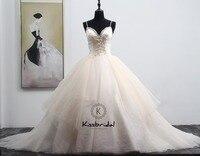Vestidos De Novia Elegant Long Wedding Dress 2018 Sweetheart Spaghetti Strap Appliques Tulle Ball Gown Casamento