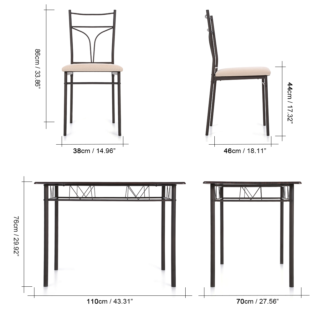 iKayaa 5PCS Modern Metal Frame Dining Kitchen Table Chairs Set for 4 Person Kitchen Furniture 120kg