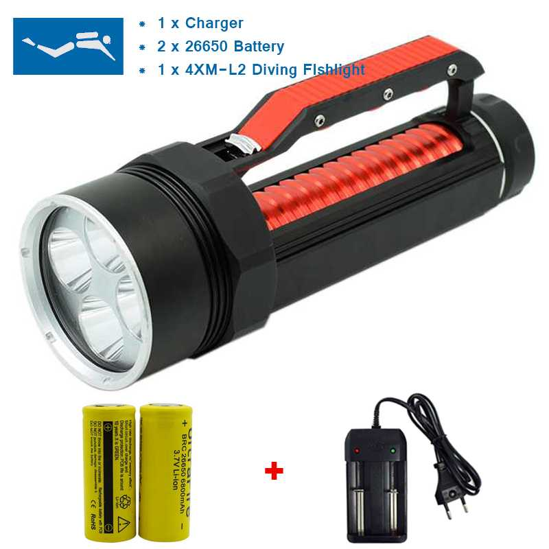 8000 Lumens Led Flashlight Powerful Dive Light Waterproof 4x XM-L2 Underwater Hunting 26650 Torch Lamp Tent Light for Fishing powerful 6 xm l2 waterproof dive light underwater 6000 lumen tactical led diving flashlight 26650 torch lamp lanterna