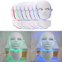 Светодиодный 7 Цвета Свет массаж лица микротоковая маска для лица машина фотонной терапии кожи лица шеи маска отбеливающая электрическое у