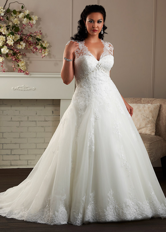 A Line Cap Sleeve Plus Size Wedding Dress Plunging Neckline Big