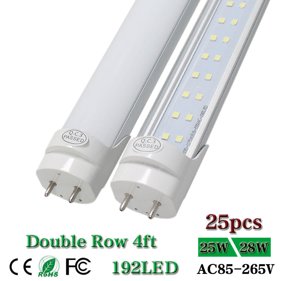 48'' 4ft Led Tube Light G13 T8 Bi-pin Double Row 1200mm 4 Foot Replace Fluorescent Bar Lamp Bulb Clear Lens 25W 28W 2800lm 25pcs