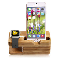 Bamboo Wood Charging Dock Charge Station Stock Cradle Holder for Apple Watch Both 38mm and 42mm & iPhone 7 7 plus 6 6 plus 5S 5