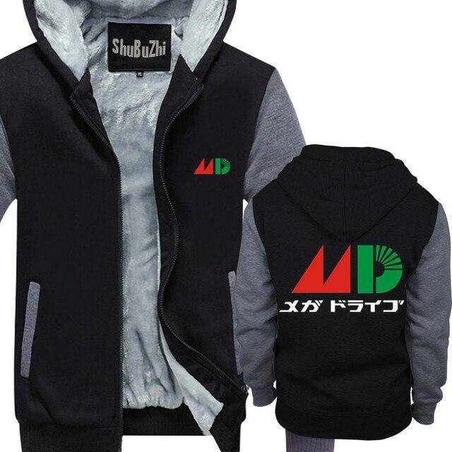 8cef21173a57 Winter Thick Hoodies For Men Mega Drive Tribute Japanese man Zipper ...
