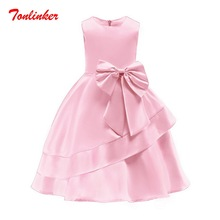 Pink Summer Girls Solid Color Bow-Knot Princess Dress Children Tutu  Dance Piano Wedding Gown Dresses 2019 New 2-10T