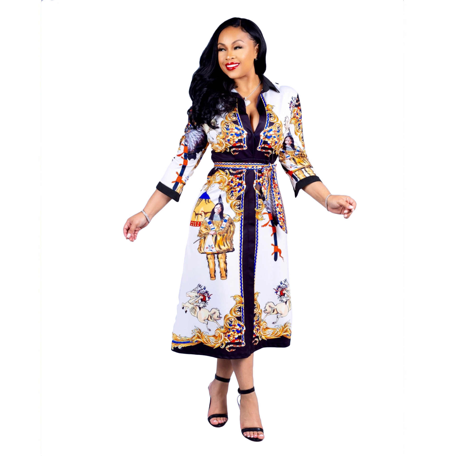 latest sale to buy 2019 wholesale price African Dresses For Women Robe Africaine 2019 New Style African Women  Clothing Dashiki Fashion Print Cloth Dress Africa Clothing