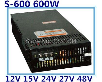 LED single phase output switching power supply S 600,600W AC input, output voltage 12V, 15V, 24V, 27V, 48V.. transformer