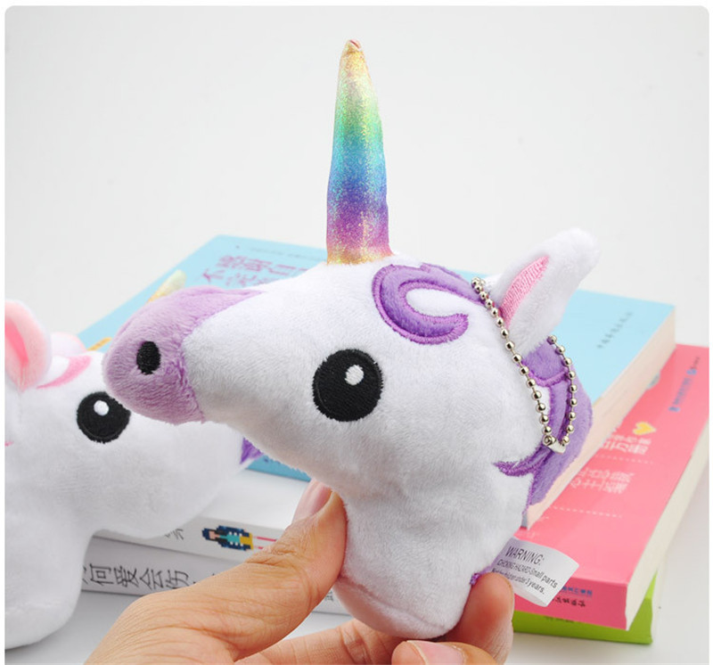 Hot Sale Rainbow Unicorn  Plush Toys Cute Anime Cartoon Unicorn Horse Animal Dolls Small Key Bag Pendants Keychain  (9)