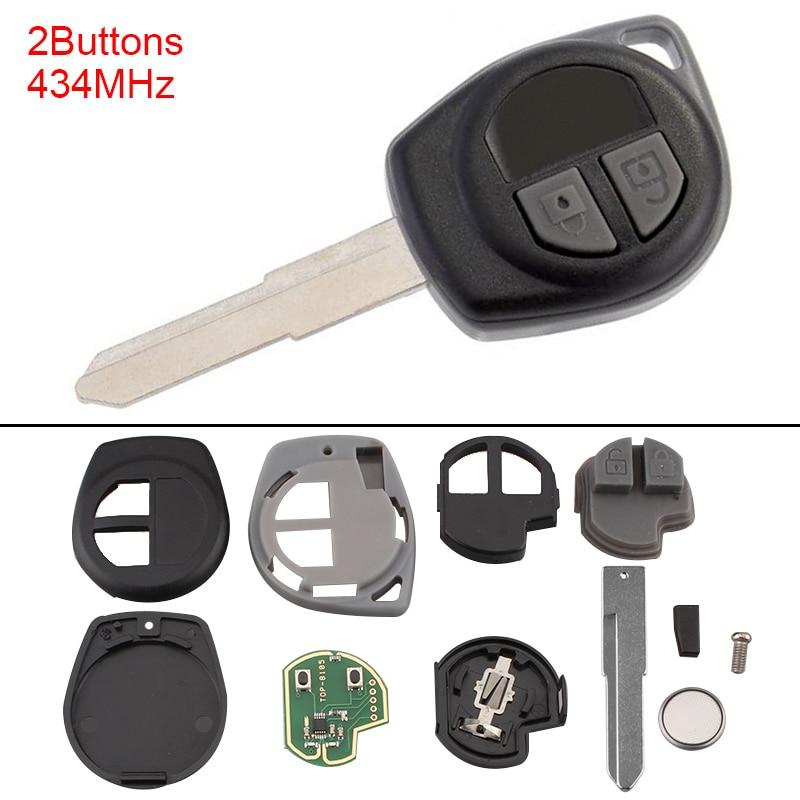 433 Mhz 2 botones sin llave sin cortar remoto llave de coche Fob Shell con ID46 Chip para SUZUKI SWIFT SX4 alto JIMNY VITARA IGNIS Splash