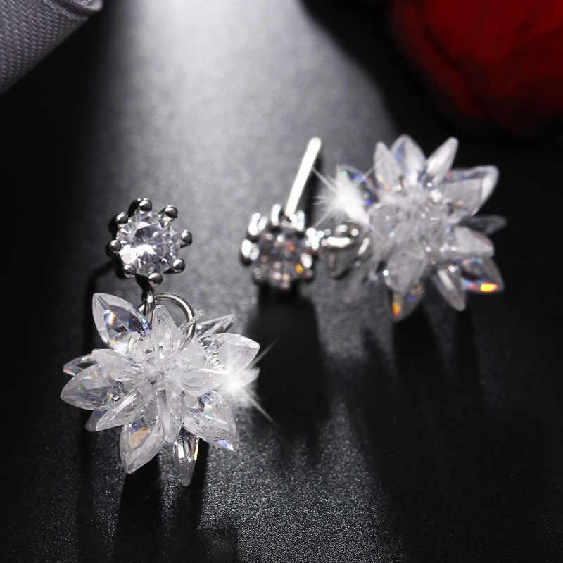 3f05de538 ... 3 Style Fashion Snow Ice Flower CZ Zircon Crystal Stud Earrings for  Women long tassel earrings ...