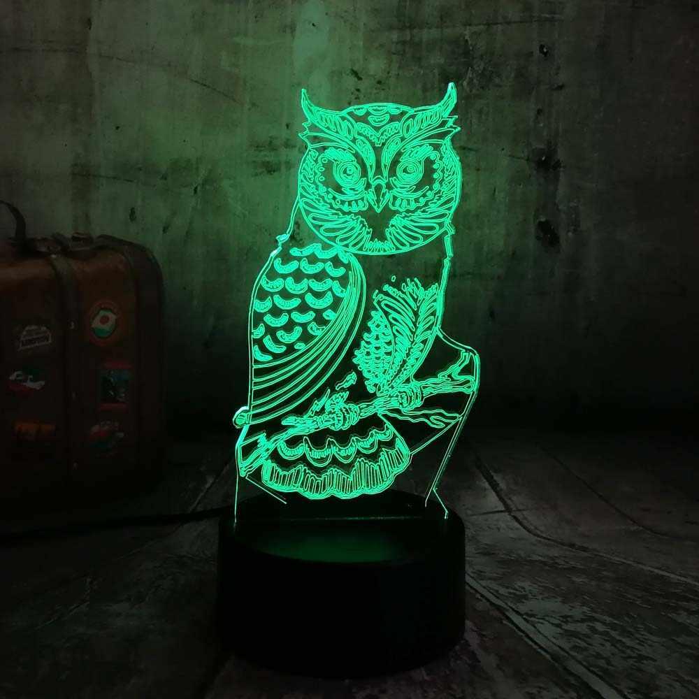 참신 3D 올빼미 LED 나이트 라이트 7 색 변경 책상 테이블 램프 홈 침실 장식 어린이 키즈 아기 잠자는 크리스마스 축제 램프
