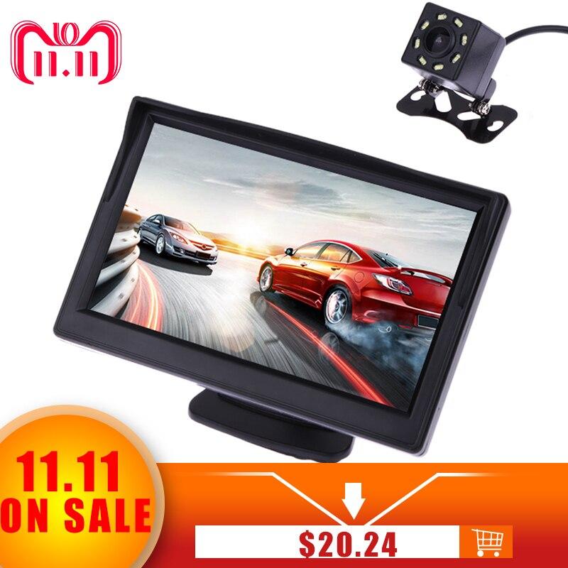 VODOOL 5 pulgadas TFT LCD Monitor de visualización trasera a prueba de agua visión nocturna de marcha atrás de la Cámara retrovisor de calidad de los monitores del coche