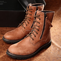 New 2015 spring/autumn boots fashion martin boots genuine leather men vantage motorcycle boot zip high-top shoes free shipping