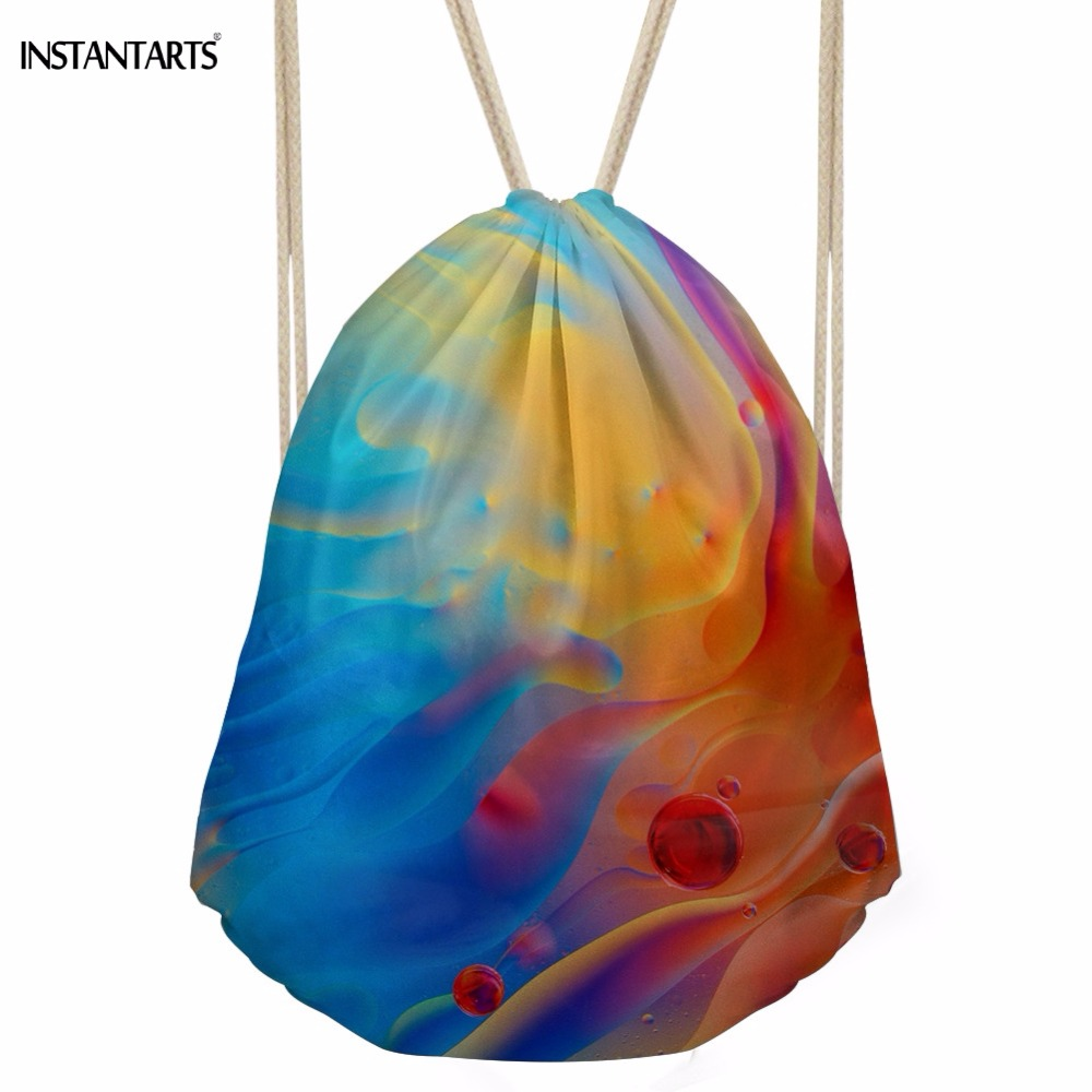 INSTANTARTS Colorful Swirls Paisley Print Women Drawstrings Bags Fashion Shopping Shoulder Bags Softback Storage Beach Backpack