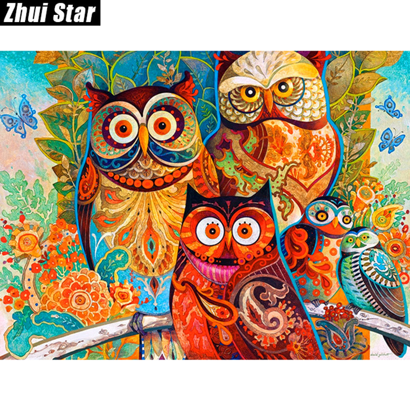 "New Full Square Diamond 5D DIY Diamantmålning ""Color Owl"" Broderi Cross Stitch Rhinestone Mosaic Painting Decor Gift"