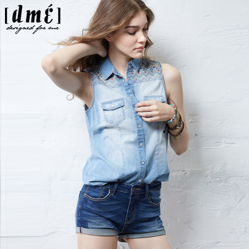 658c90673a1b Summer Style Sleeveless Denim Shirts Tops Women National Style Retro  Embroidery No Sleeve Shirts Camisa Jeans Feminina 515437002-in Blouses &  Shirts from ...