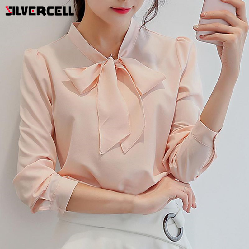 SILVERCELL Casual Bowknot Chiffon Blouse Shirt for Women Office Lady Shirt office women blouse Tops For Spring Autumn
